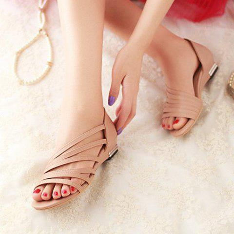 Online Casual Strappy and PU Leather Design Sandals For Women - 39 APRICOT Mobile