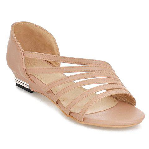 Cheap Casual Strappy and PU Leather Design Sandals For Women - 39 APRICOT Mobile