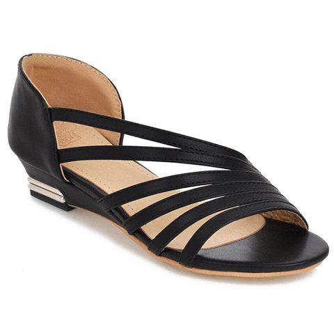 Shop Casual Strappy and PU Leather Design Sandals For Women BLACK 38