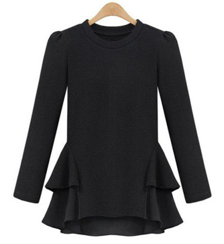 Trendy Long Sleeve Jewel Neck Flounce Peplum Blouse