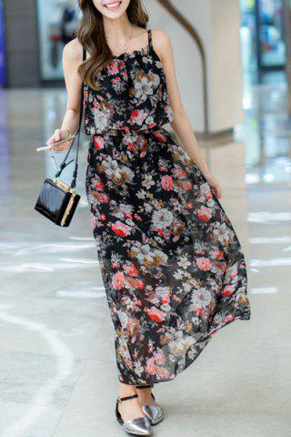 Buy Sweet Spaghetti Strap Sleeveless Floral Print Women's Chiffon Dress