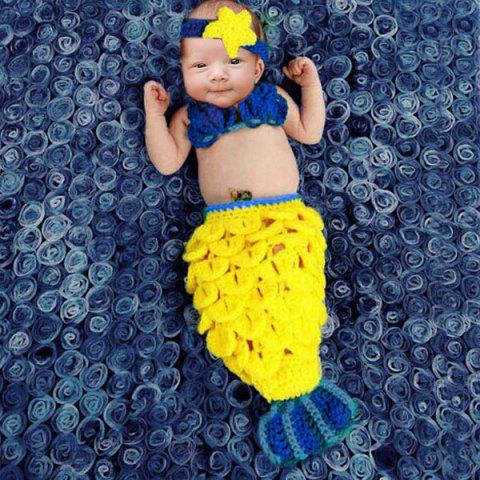 Outfits Stylish Hand Woolen Knitting Mermaid Shape Three-Piece Suit Baby Sleeping Bag Blanket