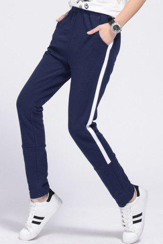 Outfits Women's Casual Drawstring Loose-Fitting Striped Sports Pants - S PURPLISH BLUE Mobile