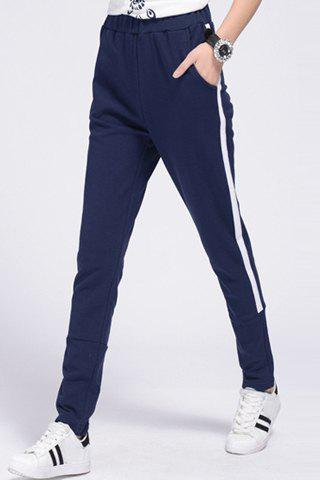 Discount Women's Casual Drawstring Loose-Fitting Striped Sports Pants PURPLISH BLUE S