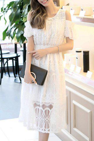 Hot Cold Shoulder High Waist Long Midi Lace Dress