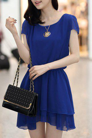 Trendy Charming Solid Color Elastic Waist Layered Chiffon Dress For Women