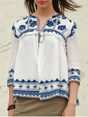 Fashion Vintage V-Neck 3/4 Sleeve Embroidered Fringed Blouse For Women WHITE M