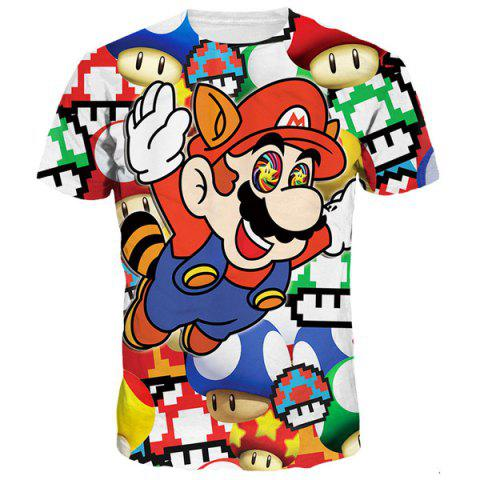 Shops Funny 3D Cartoon Mario Print Round Neck Short Sleeves T-Shirt For Men