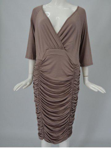 Outfit V-Neck Ruched Bodycon Drape Midi Dress - COFFEE XL Mobile