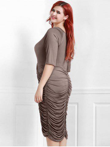 Outfit V-Neck Ruched Bodycon Drape Midi Dress - COFFEE 2XL Mobile