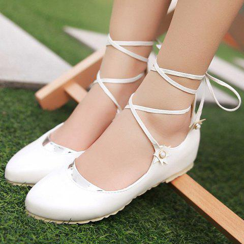Buy Sweet PU Leather and Faux Pearls Design Flat Shoes For Women -   Mobile