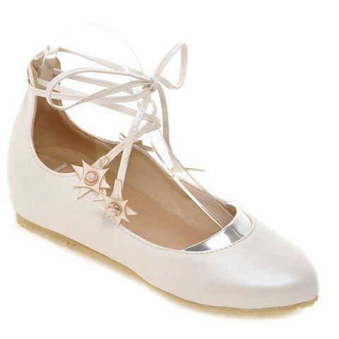 Store Sweet PU Leather and Faux Pearls Design Flat Shoes For Women
