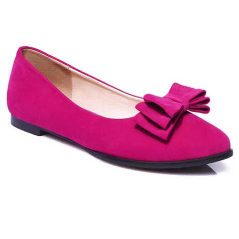 Buy Elegant Bowknot and Flock Design Flat Shoes For Women