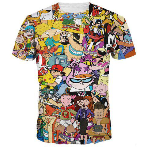 Latest Casual 3D Cartoon Print Round Neck Short Sleeves Funny T-Shirt For Men