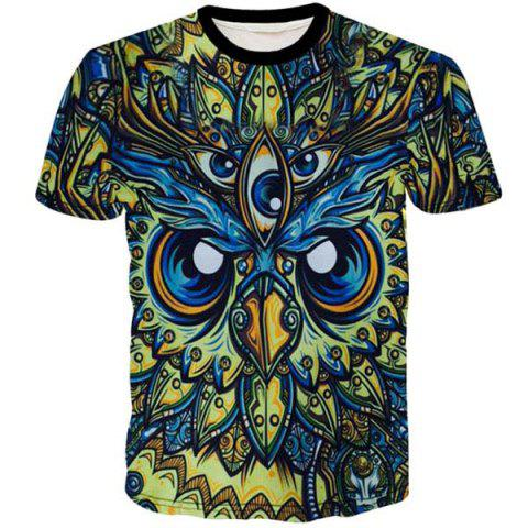 Cheap Round Neck 3D Abstract Eyes Printed Short Sleeve T-Shirt For Men