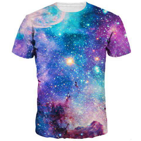 Unique 3D Colorful Starry Sky Print Round Neck Short Sleeves T-Shirt For Men