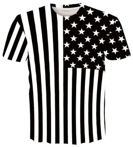 Chic Round Neck 3D Stripe and Star Printed Short Sleeve T-Shirt For Men WHITE/BLACK M