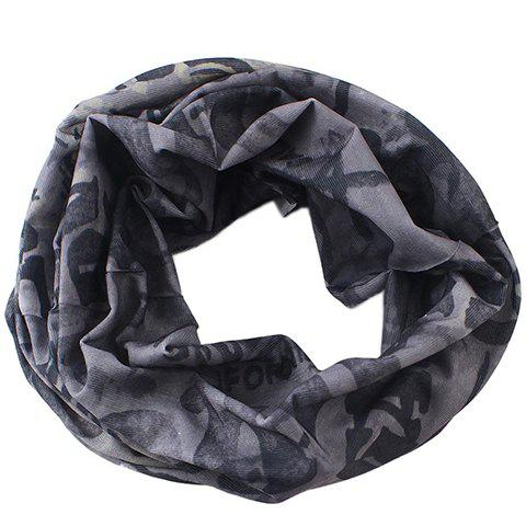 Stylish Letter and Skull Pattern Twist Scarf For Men - Gray - S
