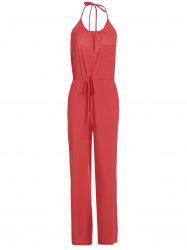 Chic Solid Color Spaghetti Strap Wide Leg Loose Jumpsuit For Women - RED