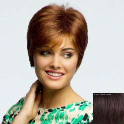 Graceful Short Straight Fashion Inclined Bang Capless Human Hair Wig For Women -