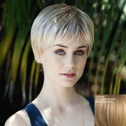 Stylish Side Bang Capless Stunning Short Straight Real Natural Hiar Wig For Women -