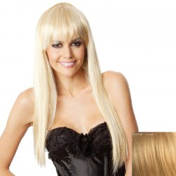 Charming Extra Long Capless Trendy Full Bang Straight Human Hair Wig For Women -