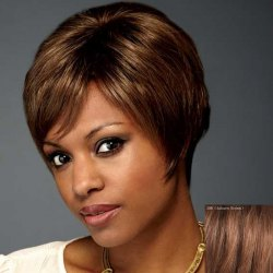 Assorted Color Natural Straight Dynamic Short Side Bang Capless Human Hair Wig For Women -