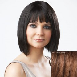 Women's Trendy Bob Style Full Bang Human Hair Wig -