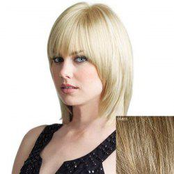 Women's Full Bang Layered Human Hair Wig -