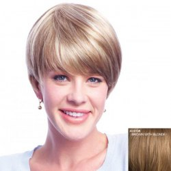 Women's Neat Bang Short Human Hair Wig -
