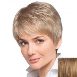 Women's Short Inclined Bang Human Hair Wig -