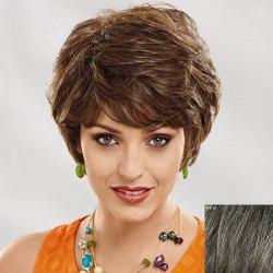 Women's Short Curly Side Bang Human Hair Wig - DARKEST BROWN WITH GRAY