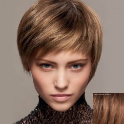 Fluffy Ultrashort Human Hair Wig For Women - AUBURN BROWN #30