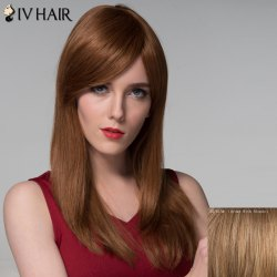 Outstanding Side Bang Capless Trendy Straight Long Human Hair Wig For Women -
