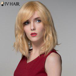 Shaggy Natural Wave Capless Vogue Medium Side Bang Human Hair Wig For Women - GOLDEN BROWN WITH BLONDE