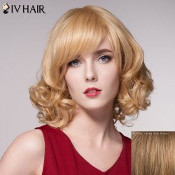 Charming Short Capless Shaggy Wave Inclined Bang Human Hair Wig For Women -