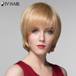 Attractive Straight Capless Vogue Short Side Bang Real Natural Hair Wig For Women - GOLDEN BROWN WITH BLONDE