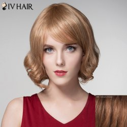 Fashion Side Bang Capless Trendy Short Fluffy Wavy Human Hair Wig For Women -