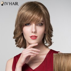 Graceful Short Inclined Bang Capless Shaggy Wave Human Hair Wig - BROWN WITH BLONDE