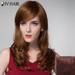 Charming Side Bang Capless Stylish Long Shaggy Wavy Human Hair Wig For Women -