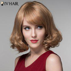 Fashion Side Bang Capless Stunning Short Shaggy Wavy Human Hair Wig For Women - BROWN WITH BLONDE