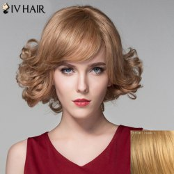 Human Hair Stylish Short Side Bang Shaggy Wavy Capless Wig -