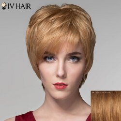 Spiffy Short Inclined Bang Fluffy Natural Wave Capless Human Hair Wig For Women - DARK ASH BLONDE