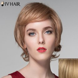 Assorted Color Side Bang Capless Spiffy Short Fluffy Wavy Human Hair Wig For Women - GOLDEN BROWN WITH BLONDE