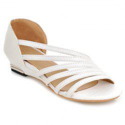 Casual Strappy and PU Leather Design Sandals For Women - WHITE