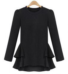 Long Sleeve Jewel Neck Flounce Peplum Blouse -