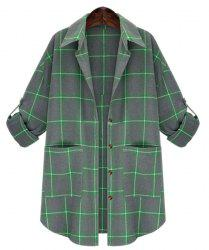 Women's Stylish 3/4 Sleeve Plaid Letter Print Plus Size Shirt -