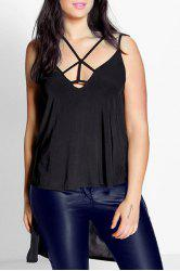 Trendy Spaghetti Strap Solid Color Cut Out Asymmetric Tank Top For Women - BLACK