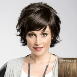 Women's Trendy Fluffy Inclined Bang Human Hair Wig -