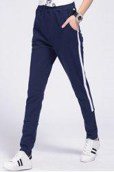 Women's Casual Drawstring Loose-Fitting Striped Sports Pants - PURPLISH BLUE